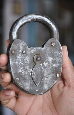 Old Iron Handcrafted Unique Shape Solid Padlock , Rich Patina