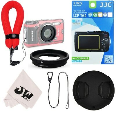 6in1 Kit Lens Adapter+Wrist Strap+Screen Protector for Olympus TG-5 TG-4 TG-3
