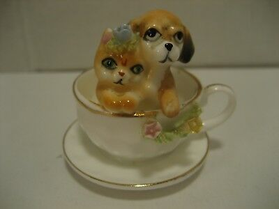Napcoware Small Teacup w/Pup & Kitten~Gold Trim Bone China
