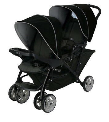 Graco Stadium Duo Tandem Pushchair With Click Connect Black Grey 2031879
