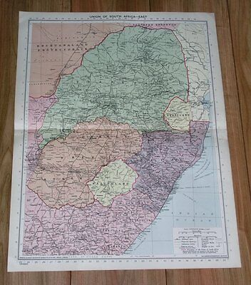 1940 Original Vintage Wwii Map Of Transvaal Orange Free State South Africa