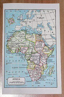 1951 Original Miniature Vintage Political Map Of Africa British French Colonies