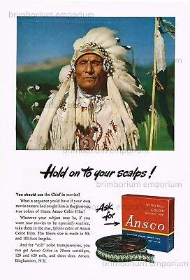Ansco Color Film HOLD ON TO YOUR SCALPS! - Original Anzeige von 1947