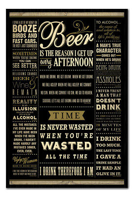 Framed Drinking Quotes Poster New