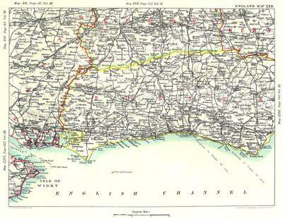 SOUTH DOWNS & SURREY HILLS. Sussex Hampshire Kent Guildford Brighton 1893 map