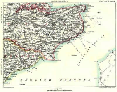 KENT & EAST SUSSEX COAST. Dover Rochester Chatham Maidstone Canterbury 1893 map