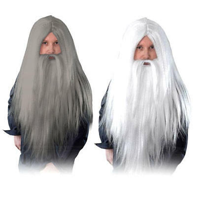Wizards Wig and Long Beard Halloween Fantasy Fairytale Adults Costume Accessory