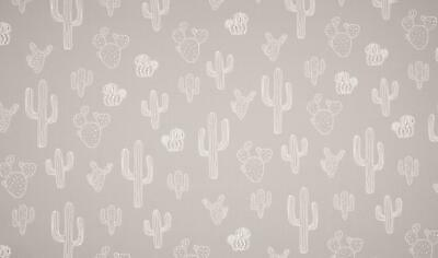 Luxury PRINTED 100% Cotton Heavy Canvas Fabric Craft Material - CACTUS GREY