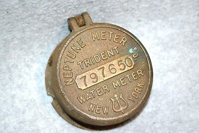Vtg Neptune Meter Co. Trident Water Meter Cover Lid w/Body & Glass #797650