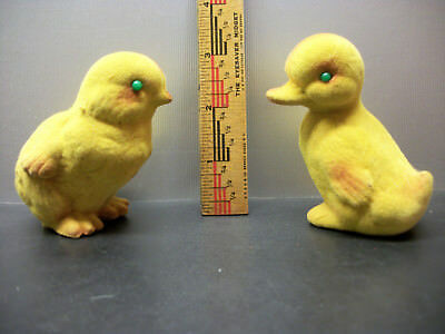2 Rare Vintage Flocked Fuzzy Green Eyed Yellow Easter Duckling & Chick Hong Kong
