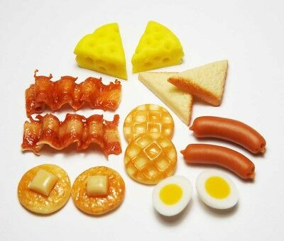 14 Mixed Dollhouse Miniature Food*Doll Mini Bakery Breakfast Pancake Bacon Toast
