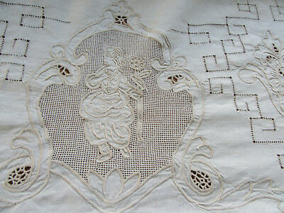 Vintage Figural Tablecloth Lace & Embroidery Cherubs & Lady w Flower  68 x 136
