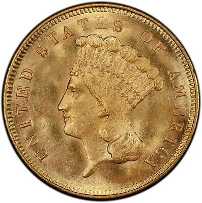 1857-S $3 Gold Piece S.S. Central America #2 (with Pinch) PCGS MS65