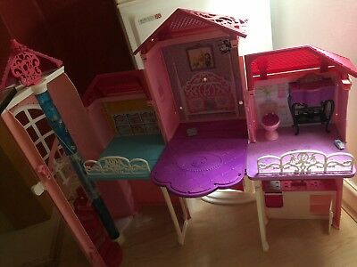 Girls Barbie 3 Storey Town House With Furniture