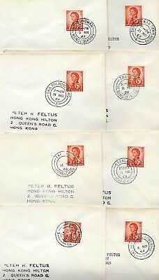 Hong Kong 1966 Collection Of 9 Different Post Office Cancels Sha Tin Shaukei She