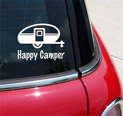 Happy Camper Camping Travel Trailer Teardrop Rv Funny Graphic Decal Sticker Art