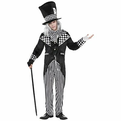 Totally Mad Hatter Wonderland Black White Mens Adults Fancy dress Costume