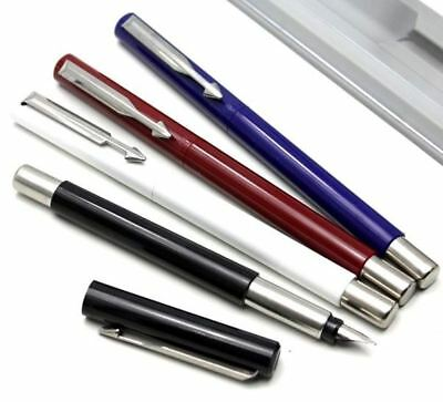 Parker Vector Fountain Pen - Medium or Fine - Black, Blue, Red, White - Gift Box