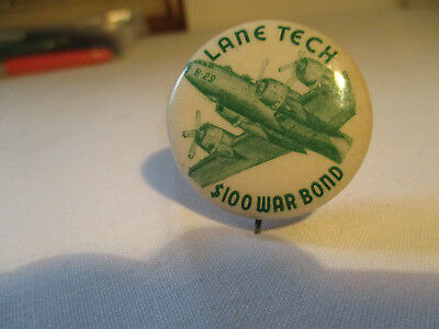 Wwii $100 War Bond Pinback W/ B29 Super Fortress Bomber From Lane Tech Chicago