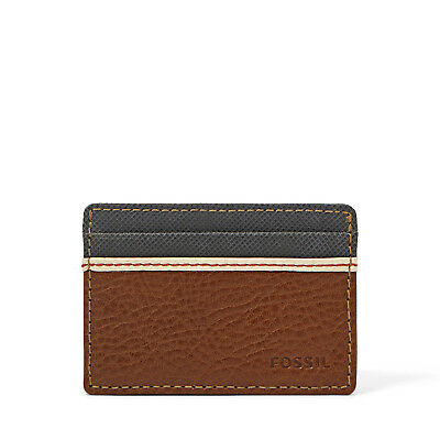 Fossil Elgin Two Tone Leather ID Card Case Front Pocket Wallet Slim Card Holder