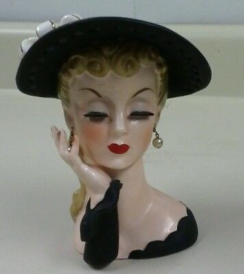 Vintage Lady Head Vase Unbranded Stamped Japan W Pearls 2500