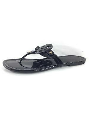 e7b4383907ce3 Y43 Tory Burch Miller Black Patent Leather Logo Thong Sandals Women s Sz ...