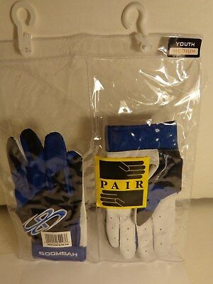BOOMBAH Batting Gloves Youth Medium New In Original Package Blue/Black/White