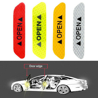 4pcs Auto Car OPEN Reflective Strips Night Driving Safety Warning Sticker Decals