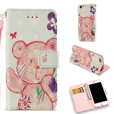 Colorful Cute Bear Wallet Leather Cover Case For iPhone 6 6S