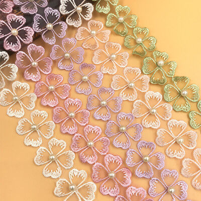 DIY 1 Y Beading flowers Lace decoration Trim Wedding dress craft accessories