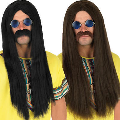 1960s Hippy Adults Wig 1970s Retro Hippie Mens 60s Costume Outfit Accessories
