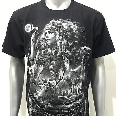 l1 Rock Chang T-shirt Tattoo Glow in Dark Skull Indian Girl Lady Soul Tribe Sexy