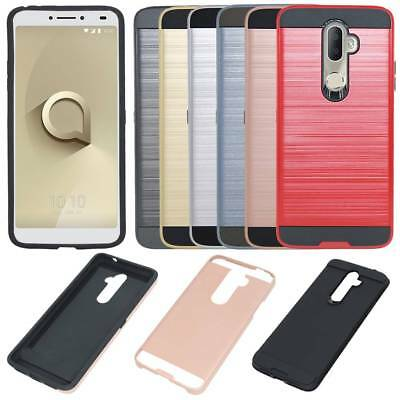 Brushed Hybrid Hard Armor Heavy Duty Case Shockproof Bumper Cover For Alcatel 3V