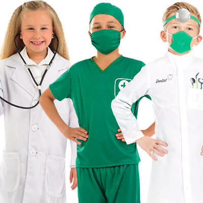 Medical Kids Fancy Dress Doctor Nurse Hospital Uniform Boys Girls Childs Costume