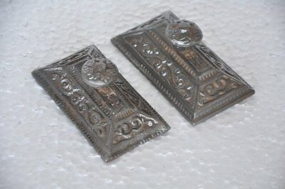 2 Pc Old Cat Iron Unique Victorian Engraved Handcrafted Flat Paper Weights