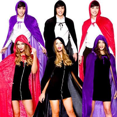 Deluxe Velvet Hooded Cape Robe Ladies Mens Halloween Vampire Fancy Dress Costume