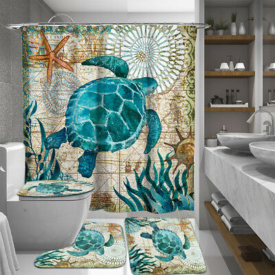 Sea Turtles Non Slip Toilet Cover Rugs Mat Set Flannel Bathroom Shower Curtain
