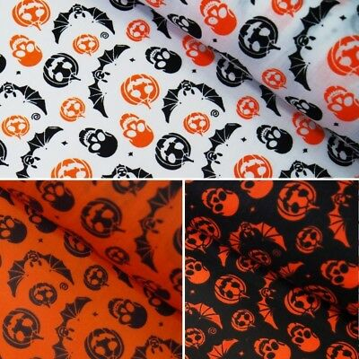 Polycotton Fabric Halloween Bats Spooky Skulls And Pumpkins Scary