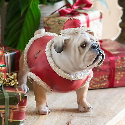 Christmas Bulldog Decorative Ornament Dog Statue Figure Gift Festive Decoration