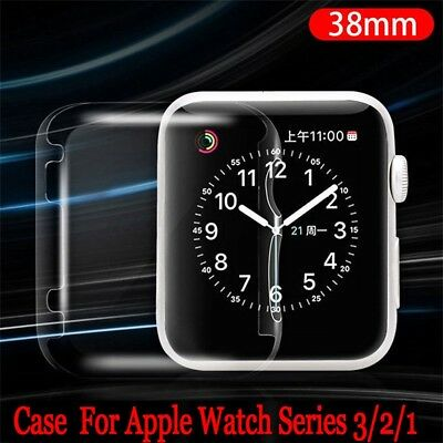 For Apple Watch Series 3 2 1 Ultra Thin Clear Protective Case Cover 38mm iWatch