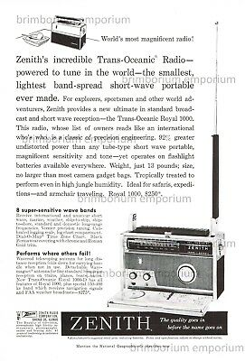 Zenith Trans-Oceanic Radio short-wave portable  - Original Anzeige von 1959