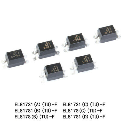 Authentic SMT/SMD Optocoupler EL817S1(A)(B)(C)(D)(TU)-F SOP-4 Compatible PC817