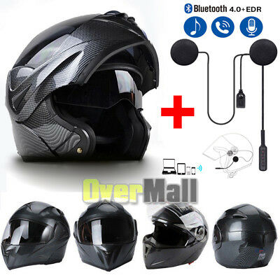 DOT Motorcycle Modular Flip up Full Face Helmet Dual Visor Carbon Fiber+Headset