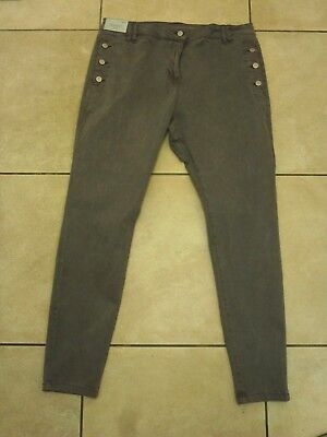 NEXT Button Utility Relaxed Skinny Jeans Size 18 L BNWT RRP £31.99 Grey or Khaki