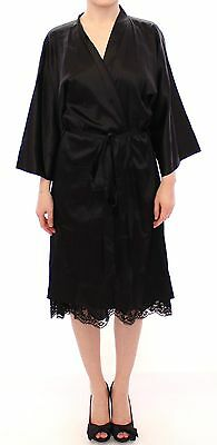 NEW Dolce & Gabbana Black Silk Lace Robe Dressing Gown Nighty Lingerie IT M