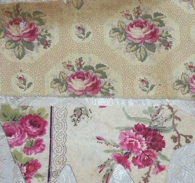SUMMER CLEAROUT, 2 MID 19th CENTURY FRAGMENTS FRENCH COTTON CHINTZ, REF 23.