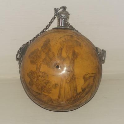 Rare 17th - 18th C Silver Mounted Carved Gourd Perfume Bottle with Female Figure