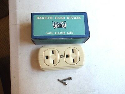 Vintage Eagle Bakelite Double Tap Outlet Flush NOS No. 74 Ivory Color 15A-125V