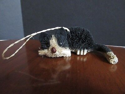 Rustic BLACK White CAT Bottle Brush Christmas Ornament Animal EUC! wood feet