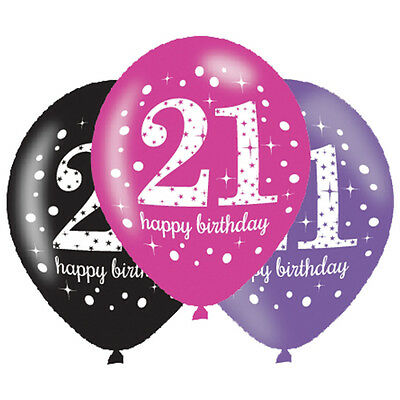 6 X 21st Birthday Balloons Black Pink Lilac Party Decorations Age 21